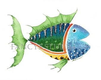 754 FISH 5x7 ORIGINAL Matted Painting