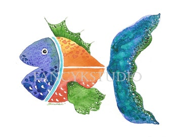 752 FISH 5x7 ORIGINAL Matted Watercolor Painting