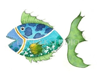 753 FISH 5x7 ORIGINAL Matted Watercolor Painting