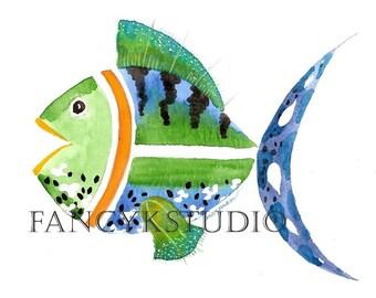 681 FISH watercolor original 5x7 with 8x10 mat