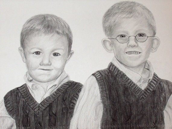 Custom Charcoal Portrait TWO SUBJECTS 11x14 or 16x20
