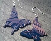Blue Butterfly Circuit Earrings - sterling