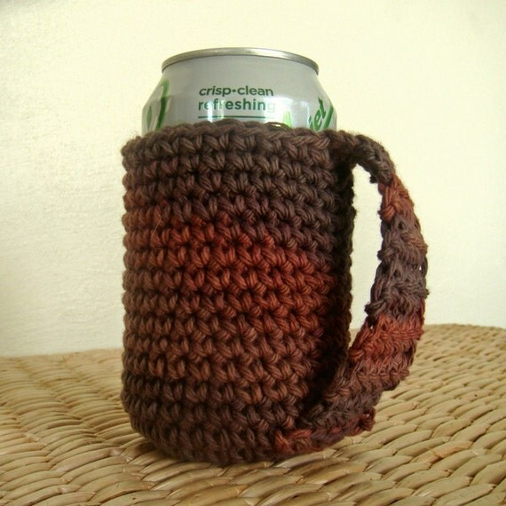 Crochet Patterns For Koozies : Can Koozie Coozie Crochet Cozy with Handle