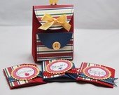 Mini Backpack Box  Striped With 3 Matching Notecards