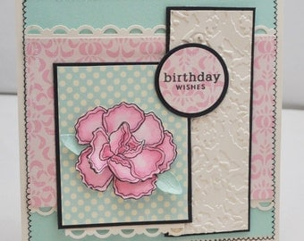 Carnation Happy Birthday Card - Year Of Flowers January