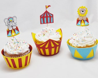 Circus Cupcake Toppers and  Wrappers