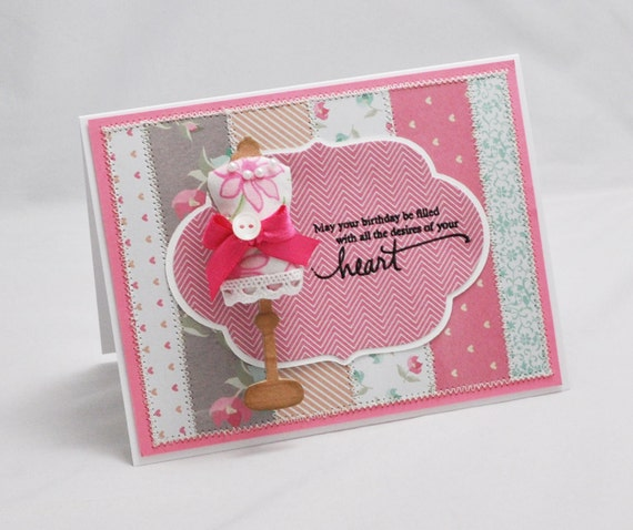 Quilted Birthday Card with Removable Dress Form Pin