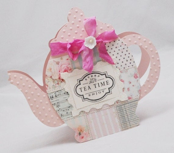 Quilted Teapot Card With Pocket For Teabag or Giftcard