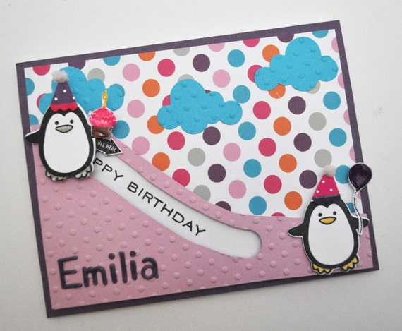penguin slider birthday card, Birthday card
