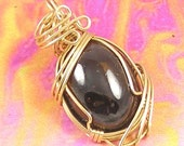 Garnet and Gold Wire Wrapped Pendant