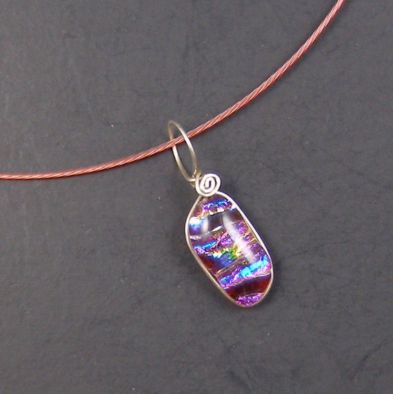 Red Fused Dichroic Glass Wire Wrapped Necklace