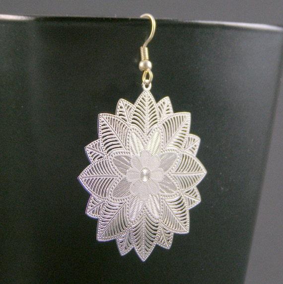 SIlver Laser Cut Floral Motif Earrings