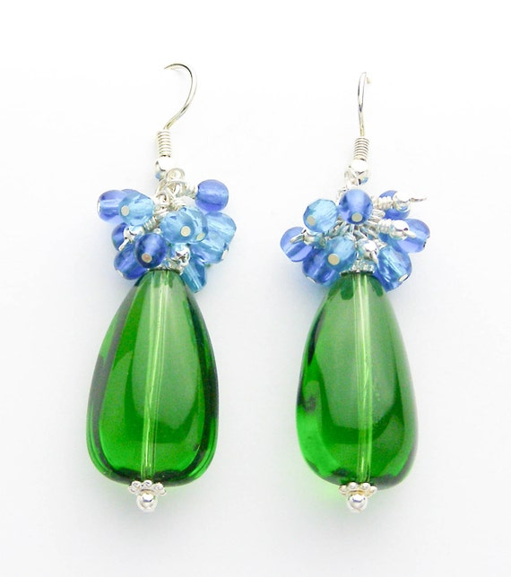 Emerald Green and Aqua Blue Dangle Earrings