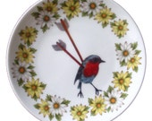 Altered Vintage Plate-Bird with Arrows