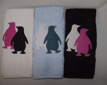 Penguin Hand Towel: Fun Winter Animal Home Decor/Soft colored towels/great gift idea/all handmade