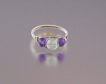 Aquamarine and Amethyst Sterling Silver Wire Wrap Ring