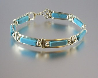 Genuine Turquoise Sterling Silver Wire Wrap Bangle Bracelet
