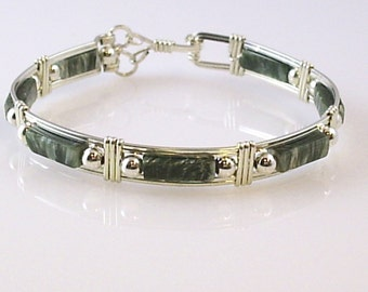Genuine Seraphinite Sterling Silver Wire Wrap Bangle Bracelet