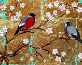 BIRDS ON BRANCHES  original painting
