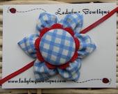 Sweet Six-Petal Fabric Flower Hair Clip or Skinny Elastic Headband - Dorothy