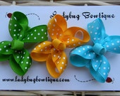 Basic Toddler Hair Bow Trio - Summer Brights- Apple Green, Yellow Gold and Turquoise