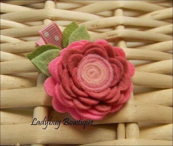 Wool Felt Flower Rosette Hair Clip - Pink and Mauve