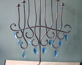Pretty Menorah of Copper and Glass