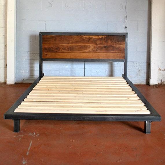 Kraftig Platform Bed With Rough Walnut Headboard By