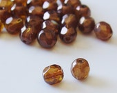 Gutermann 6mm Round Faceted Glass Czech Beads - Copper - 20  pcs - 9980