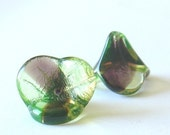 Gorgeous 14mm X 16mm Pressed Glass Bell Flower - Green Brown Two-Tone - 4 Pieces - 01s8