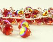 10mm Unicorne Tear Drop Lampwork Beads - Glistening Scarlet  - 4 Pieces - 22006