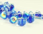 10mm Unicorne Tear Drop Lampwork Beads - Blue My Mind - 4 Pieces - 21995