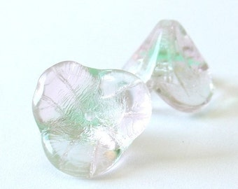 Gorgeous 14mm X 16mm Pressed Glass Bell Flower - Pink Peridot Two-Tone - 4 Pieces - 00s8