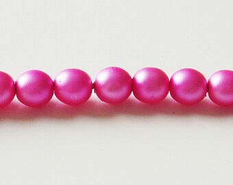 Gutermann 6mm Pearl Glass Beads - Hot Pink - 50 Pieces - 4805