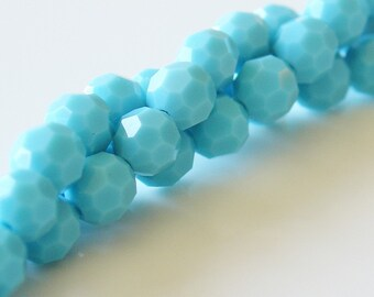 6mm Round Turquoise Preciosa Crystal Round Faceted Beads - 5 inch Strand - 21 pcs - 7000