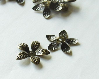 15mm Antique Bronze Filigree Leaf Bead Cap - Nickel Free - 25 Pieces- LCE041Y