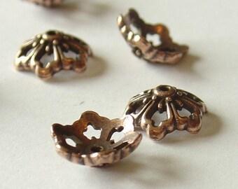Tierra Cast Pewter Antique Copper Poppy Bead Cap - 12mm 4   Pieces - 9118