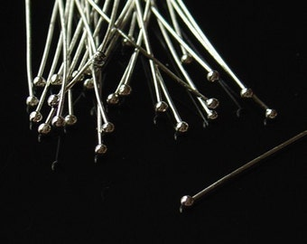 2 Inch Nickel Color Head Pins with Ball - 100 Pieces - 0325