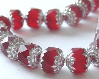 9mm Czech Fire Polished Cathedral Beads With Silver Ends - Siam Ruby - 10 Pieces - 4006s8