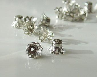 5mm x 6mm Bright Silver Filigree Bead Caps - 25 Pieces - LCE113