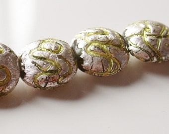 18mm Round Lampwork Glass Bead with Silver Foil Covering - Green Swirls - 2 Pieces - 4800-03