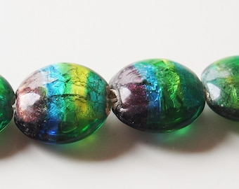 20mm Round Silver Rainbow Lampwork Glass Bead -  2 Pieces - 4803