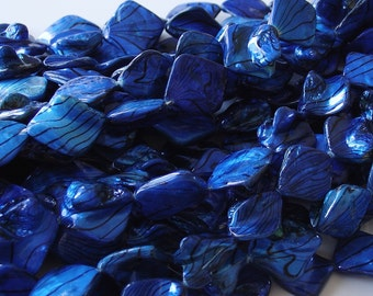 Approximately 20mm X 20mm Dark Blue Rhombus Shell Beads - 20 Pieces strand - LC1818
