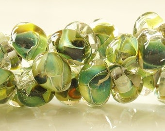 10mm Unicorne Tear Drop Lampwork Beads - Reptile Green - 4 Pieces - 21107