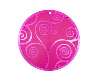44mm  Hot Pink Aluminum Round Pendant With Swirls - 2 Pieces - 1105-11
