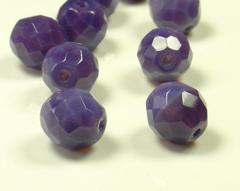 10mm Fire Polished Lilac  Czech Glass Beads - 10 Pieces - LC0288