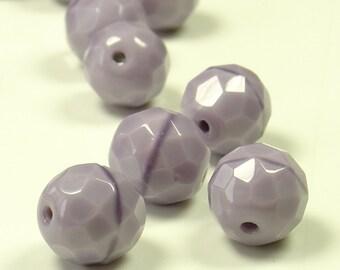 10mm Fire Polished Mauve Silk Czech Glass Beads - 10 Pieces - 0298
