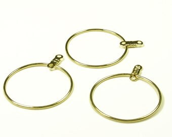 25mm Gold Ear Hoops - Lead and Nickel Free - 25 Pieces - 1050