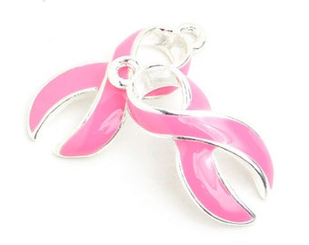23mm Pink Curved Breast Cancer Awareness Ribbon Charm - 2 Pieces - 1570
