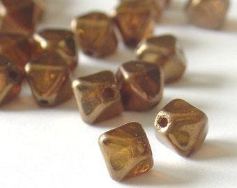 6mm zech Iridescent Copper Pyramid  glass Beads - about  60 Pcs2046